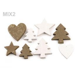 Drevená dekorácia srdce, stromček, hviezda, anjel s glitrami