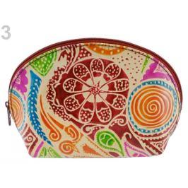 Puzdro / kozmetická taška kožená 12x18 cm multikolor 1ks