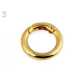 Karabína okrúhla na kabelky / krúžok na kľúče Ø16 mm zlato kovová 2ks Stoklasa
