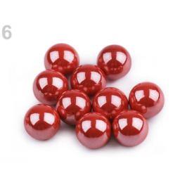 Dekoračné guľky / perly bez dierok Ø8 mm lesklé červená 10ks Stoklasa