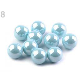 Dekoračné guľky / perly bez dierok Ø8 mm lesklé modrá nezábudková 10ks Stoklasa
