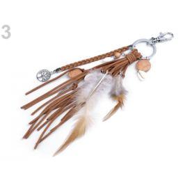 Prívesok na kabelku / kľúče - pierko, strom života hnedá 1ks Stoklasa