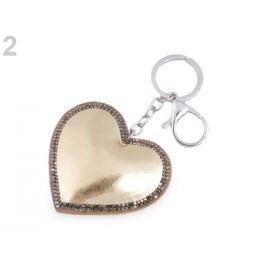 Prívesok na kabelku / kľúče srdce metalický zlatá svetlá 1ks Stoklasa