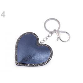Prívesok na kabelku / kľúče srdce metalický modrá popelavá 1ks Stoklasa