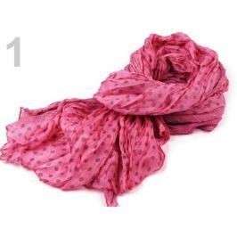 Krčená šatka bodkovaná 100x175cm ružová ostrá sv. 6ks Stoklasa