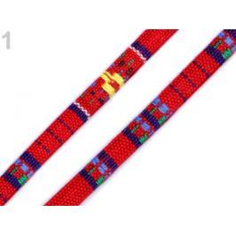 Šnúra plochá šírka 7 mm indiánský motív červená 1m Stoklasa