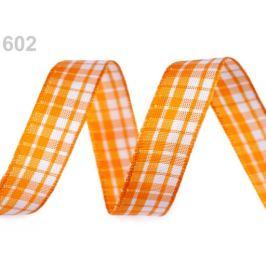 Károvaná stuha s drôtom šírka 15 mm oranžová   25m