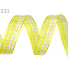 Károvaná stuha s drôtom šírka 15 mm žltá   25m
