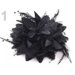 Brošňa  / ozdoba chryzantéma Ø11 cm čierna 1ks Stoklasa