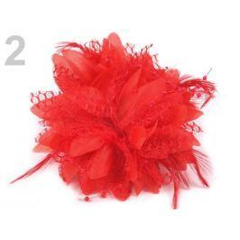 Brošňa  / ozdoba chryzantéma Ø11 cm červená 4ks Stoklasa