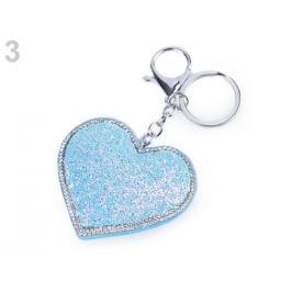 Prívesok na kabelku / kľúče srdce s AB efektom šedá 1ks Stoklasa