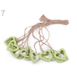 Drevené srdce, motýľ, kvet s povrázkom zelená sv. 12ks