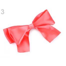 Spona do vlasov veľká saténová mašľa ružová korálová 1ks Stoklasa