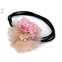 Gumička do vlasov s kvetmi béžová sv. 1ks Stoklasa