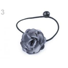 Gumička do vlasov s kvetom šedá perlovo 1ks Stoklasa