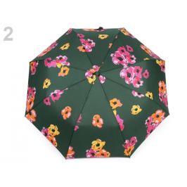 Dámsky skladací vystrelovací dáždnik kvety zelená smrekov 1ks Stoklasa