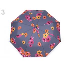 Dámsky skladací vystrelovací dáždnik kvety šedá 1ks Stoklasa
