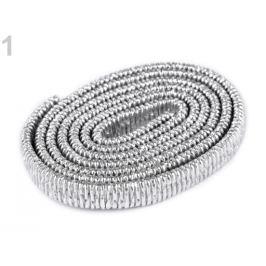 Koženková guma plochá šírka 10 mm strieborná 1m Stoklasa