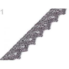 Čipka metalická šírka 15 mm strieborná tm. 13.5m Stoklasa