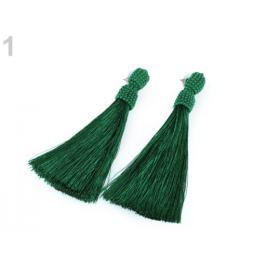 Náušnice dlhé strapce zelená malachitová 1pár Stoklasa