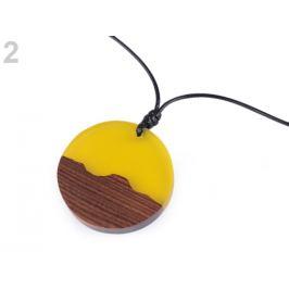Náhrdelník z dreva a živice žltá 1ks Stoklasa