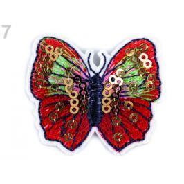 Nažehlovačka motýľ s flitrami červená 10ks Stoklasa