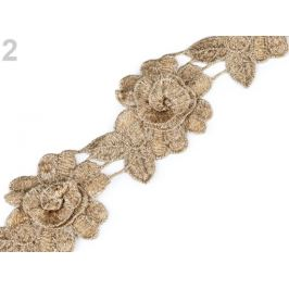 Vyšívaný prámik / čipka 3D kvet s lurexom šírka 60 mm zlatá 1m Stoklasa