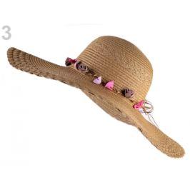 Dámsky klobúk / slamák na ozdobenie hnedá prírodná 1ks Stoklasa
