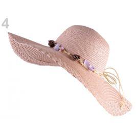 Dámsky klobúk / slamák na ozdobenie pudrová 1ks Stoklasa