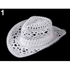Kovbojský klobúk / slamák na ozdobenie biela 1ks Stoklasa