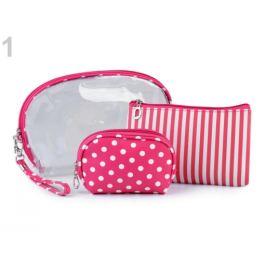 Kozmetická taška priehľadná, prúžkovaná a bodkovaná, sada 3 ks pink 1sada Stoklasa