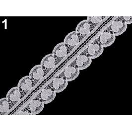 Silónová čipka / vsadka srdce šírka 30 mm biela 18m Stoklasa