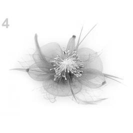 Brošňa / ozdoba do vlasov s perím šedá sv. 1ks Stoklasa