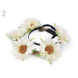 Pružná čelenka do vlasov s kvetmi béžová najsv. 1ks Stoklasa