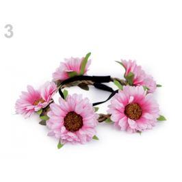 Pružná čelenka do vlasov s kvetmi ružová sv. 1ks Stoklasa