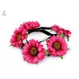 Pružná čelenka do vlasov s kvetmi pink 1ks Stoklasa