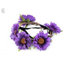 Pružná čelenka do vlasov s kvetmi fialková 1ks Stoklasa