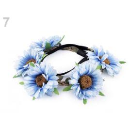 Pružná čelenka do vlasov s kvetmi modrá sv. 1ks Stoklasa