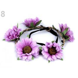 Pružná čelenka do vlasov s kvetmi fialová sv. 1ks Stoklasa
