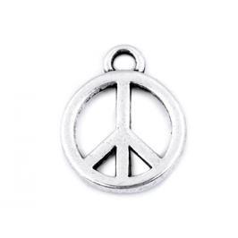 Prívesok peace Ø12 mm platina 5ks Stoklasa