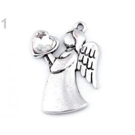 Prívesok anjel so srdcom 24x36 mm crystal 1ks Stoklasa