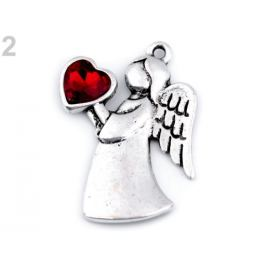 Prívesok anjel so srdcom 24x36 mm červená 1ks Stoklasa