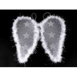 Anjelské krídla s perím a glitrovými hviezdami biela 1ks Stoklasa