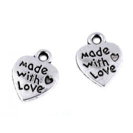 Prívesok srdce Made with love 10x12 mm platina 10ks Stoklasa