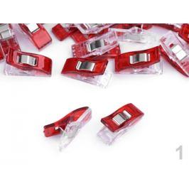 Fixačný štipec / svorka 10x27 mm na látky červená 20ks
