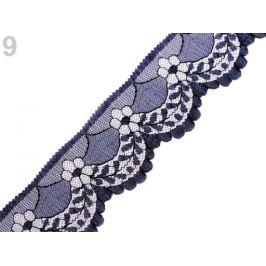 Silónová čipka šírka 40 mm modrá tmavá 15m Stoklasa