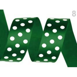 Saténová stuha s bodkami šírka 25 mm zelená malachitová 10m Stoklasa