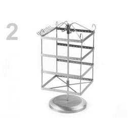 Otočný stojan na bižutériu 16x16 cm výška 33 cm 2. akosť platina 1ks Stoklasa