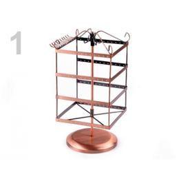 Otočný stojan na bižutériu 16x16 cm výška 33 cm 2. akosť medená str. 4ks Stoklasa