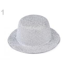 Mini klobúčik /  fascinátor s lurexom na dozdobenie Ø13,5 cm strieborná 1ks Stoklasa